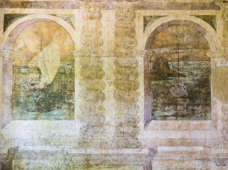 Wall paintings in the Painted Chamber, Eastbury Manor House. Photo: Mark Tyson
