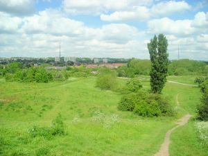 South Norwood Country Park, which contains remains of a moated site. [Wikimedia public domain: Pafcool2]
